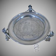 JAMES TUFTS Kate Greenaway MULTI-Characters, Footed Silver Tray c.1880's