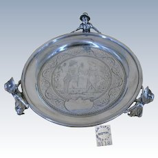 J.W. Tufts Antique Footed Silver Tray w/ Kate Greenaway Multi-Characters