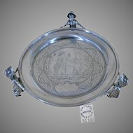 """RARE"" JAMES TUFTS - Kate Greenaway MULTI-Characters, Footed Silver Tray c.1880's"