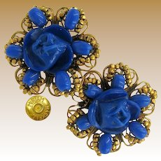 MIRIAM HASKELL Floral Earrings Vintage Bright Navy Glass 'n Gilt