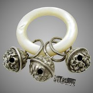 Mother of Pearl Teether Ring 'n 3-Sterling Rattles / Jingle Bells c.1900-Rare