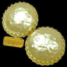 Vintage MIRIAM HASKELL Glass Mobe Pearl Earrings, Classic Crown Settings