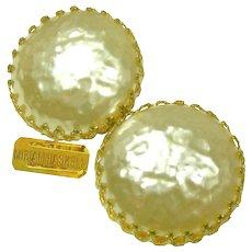 Vintage MIRIAM HASKELL Glass Mobe Pearl Earrings, Classic Crown Settings