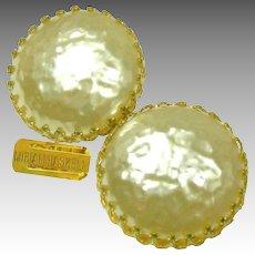 Vintage MIRIAM HASKELL Classic Glass Mobe Pearl Earrings, Crown Settings