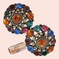 ~ART DECO Earrings ~ Jewel-tone Rhinestones ~ Pat. 1967965 c.1934~