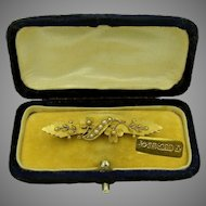 15K Gold Art Nouveau Seed Pearl Brooch 'n Fitted Case c.1901