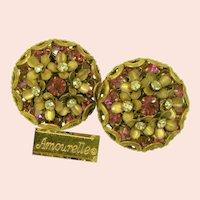~Amourelle (Haskell-Related) Earrings ~ Vintage Sparkling Posies ~ Field Fuchsia Rhinestones~