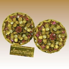 Amourelle (Hess) Vintage Earrings, Fuchsia Crystal Centered Posies