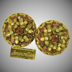 Amourelle (Hess) Vintage Earrings, Fuchsia Crystal Centered Posies