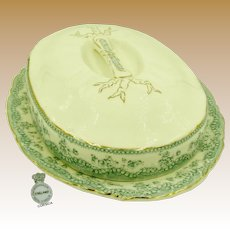 ASPARAGUS Covered Booté (Platter) c.1880, Rare Art Nouveau
