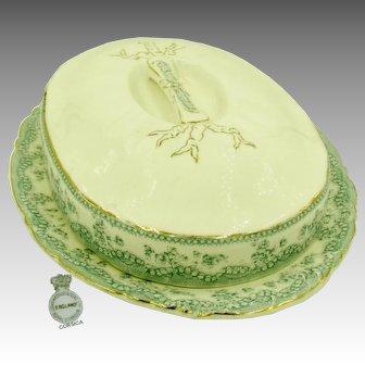 RARE ASPARAGUS Covered Booté (Platter) Art Nouveau c.1880