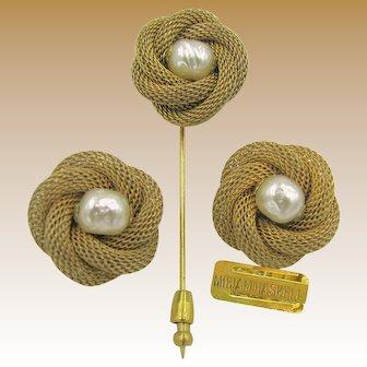 MIRIAM HASKELL Vintage Earrings 'n Stick Pin/Brooch Set, Eggs in Coil Nests