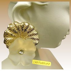 Vintage CASTLECLIFF Crystal 3-D Pansy Earrings