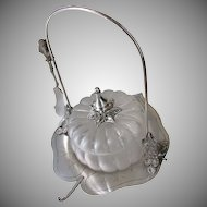 Wilcox Lily Pad Pickle Caster w/ Blown Glass Melon Bowl c.1880