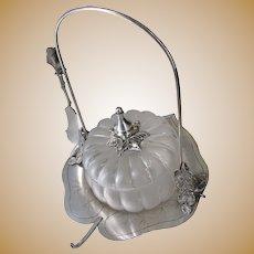 Wilcox Lily Pad Pickle Caster w/ Blown Glass Melon Bowl c.1880