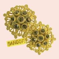 ~ Sandor Glass Garnet Earrings ~ Victorian Revival ~ Gilt Metal