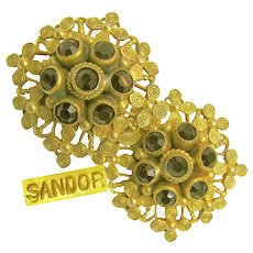 Vintage SANDOR EARRINGS 'n Garnets or Garnet-like Glass c.1940's