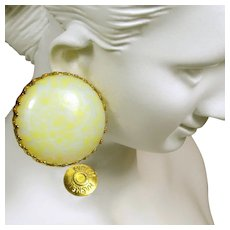 MIRIAM HASKELL Vintage Earrings, Pale Yellow Pate de Verre Glass