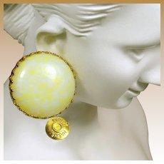 MIRIAM HASKELL Vintage Earrings, Pale Yellow Pate de Verre Glass