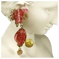 Miriam Haskell Vintage Earrings, Swirling Pink Glass 'n Gilded Brass Long Drops