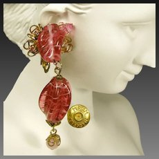 Vintage Miriam Haskell Pink Drop Earrings, Swirling Glass 'n Gilded Brass