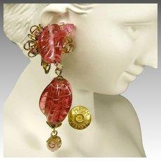 Vintage Miriam Haskell Pink Drop Earrings, Swirling Glass 'n Gilded Brass