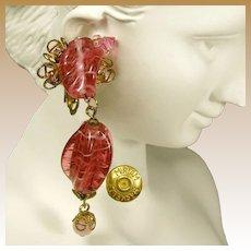 Miriam Haskell Vintage Earrings, Swirling Pink Glass 'n Gilded Brass