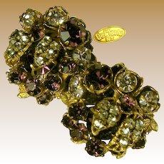 Robert DE MARIO Vintage Earrings, Amethyst Glass w/ Rose Montee