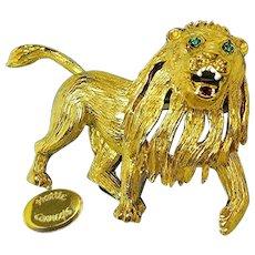 Vintage CARNEGIE Gilded Roaring Lion Brooch, Rhinestones