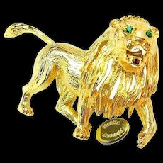 Vintage HATTIE CARNEGIE Gilded Roaring Lion Brooch