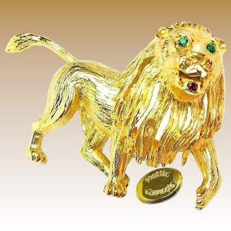 HATTIE CARNEGIE Vintage Brooch, Gilded Roaring Lion