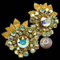 Vintage MIRIAM HASKELL Floral Earrings, AB Rhinestones