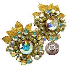 MIRIAM HASKELL Vintage Earrings, Floral w/ AB Rhinestones