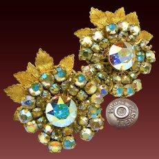 Vintage Floral MIRIAM HASKELL Earrings, AB Rhinestones c.1950's-60's