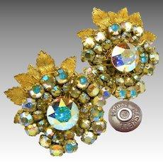 Vintage MIRIAM HASKELL Floral Earrings, AB Rhinestones