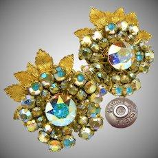 Vintage MIRIAM HASKELL Floral Earrings, AB Rhinestones c.1950's-60's