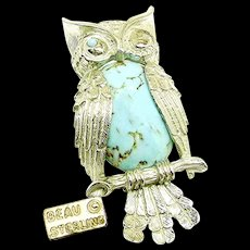 Vintage BEAU STERLING Winking Owl Brooch, Glass Turquoise Bellied