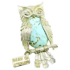 Vintage BEAU STERLING Winking Owl Brooch, Glass Turquoise Bellied