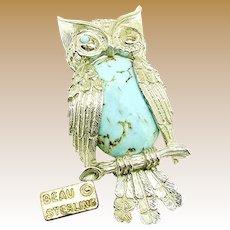 BEAU STERLING Vintage Winking Owl Brooch w/ Glass Turquoise Bellied