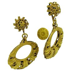MIRIAM HASKELL Vintage Earrings, Filigree Dangle Drops