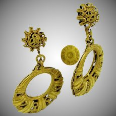 MIRIAM HASKELL Vintage Earrings, Filigree Dangle Drops