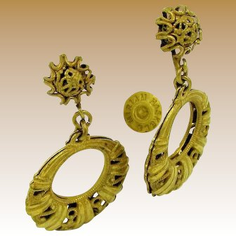 MIRIAM HASKELL Vintage Earrings, Filigree Circular Dangle Drops