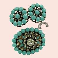 ~MIRIAM HASKELL Horseshoe Mark Set ~ Brooch 'n Earrings ~ Glass Turquoise 'n Rhinestones~