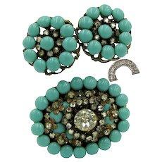 MIRIAM HASKELL Horseshoe Marked Set ~Brooch 'n Earrings ~Rhinestones 'n Glass Turquoise