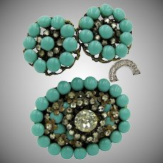 MIRIAM HASKELL Early Brooch 'n Earrings, Glass Turquoise / Horseshoe Mark