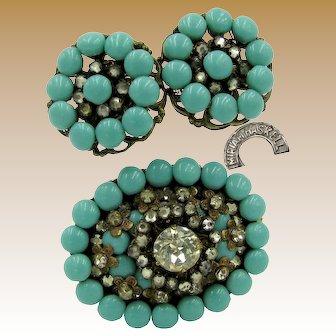 MIRIAM HASKELL Early Brooch 'n Earrings, Glass Turquoise / Horseshoe Mark