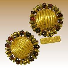 Miriam Haskell Vintage Earrings, Cranberry Art Glass 'n Gilt