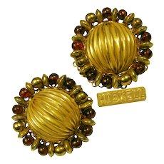 Vintage Miriam Haskell Cranberry Art Glass 'n Gilt Earrings
