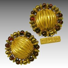 Vintage Miriam Haskell Cranberry Art Glass 'n Gilt Earrings