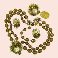 ~De MARIO All Glass Parure ~ Necklace, Earrings 'n Brooch ~ Vintage Circa 1950's~